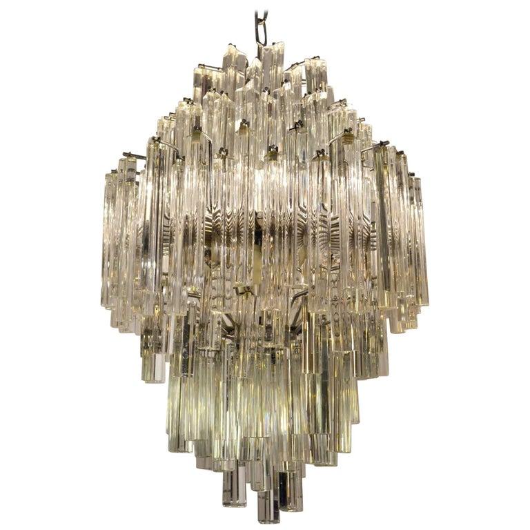 Murano Crystal Chandelier Triedri by Venini, Italy