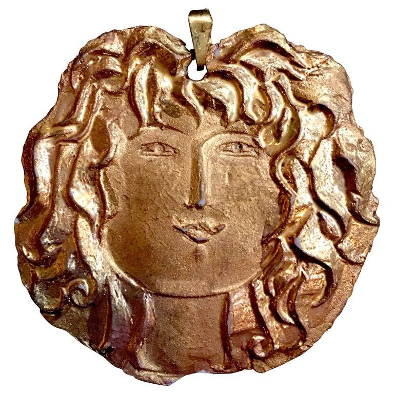 Roger Capron, Gilt Porcelain Medallion