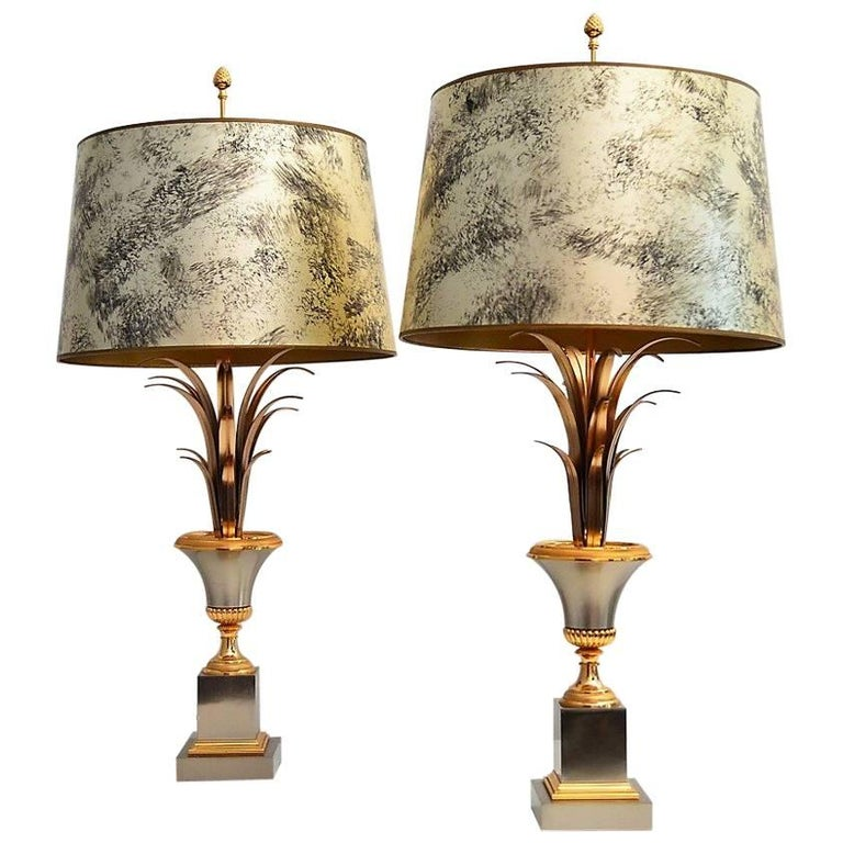 French Regency Palm Leaf Table Lamps by Maison Charles, 1960s