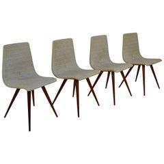Elegant Set of Four Teak Spider Leg Dining Chairs, 1950s