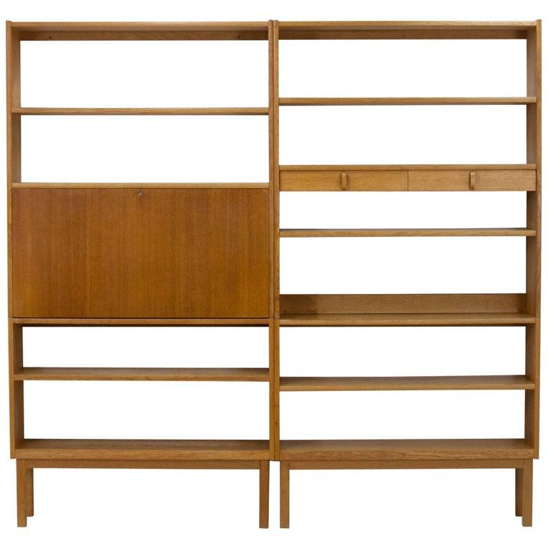 Pair of Blonde Oak Bookcases, Bertil Fridhagen for Bodafors, 1964