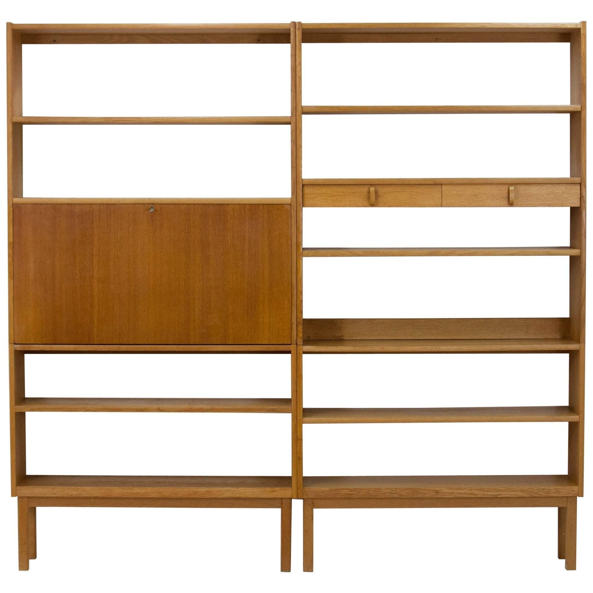pair of blonde oak bookcases bertil fridhagen for bodafors