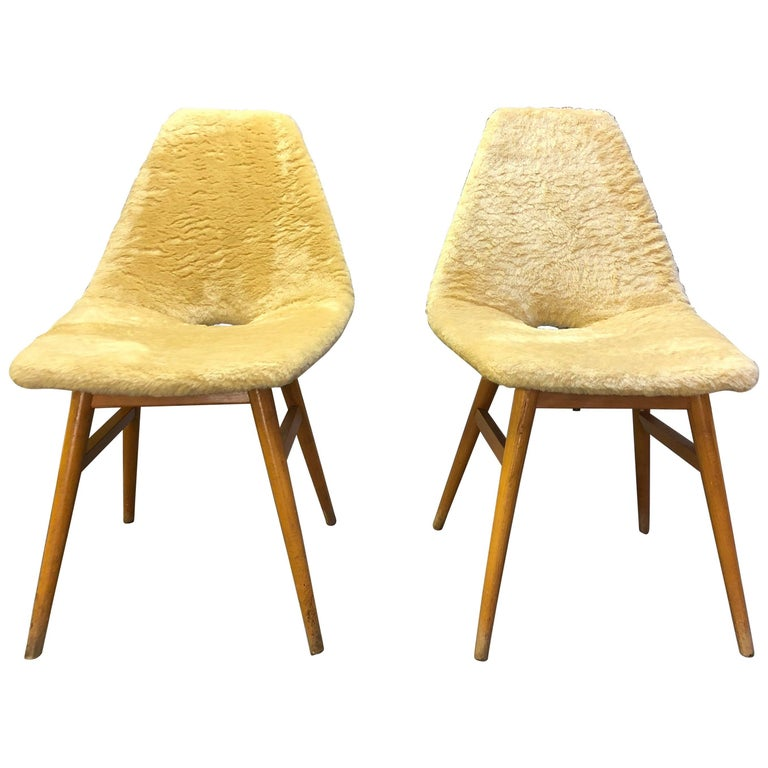 Pair of Side Chairs by Judit Burian & Erika Szek Hungary, circa 1959 For Sale