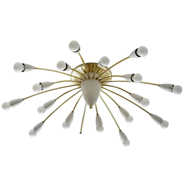Large Eighteen-Arm Stilnovo Ceiling or Wall Light Flush Mount Chandelier, 1950s