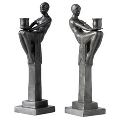 Pair of Candlesticks in Patinated Bronze Art Deco Style