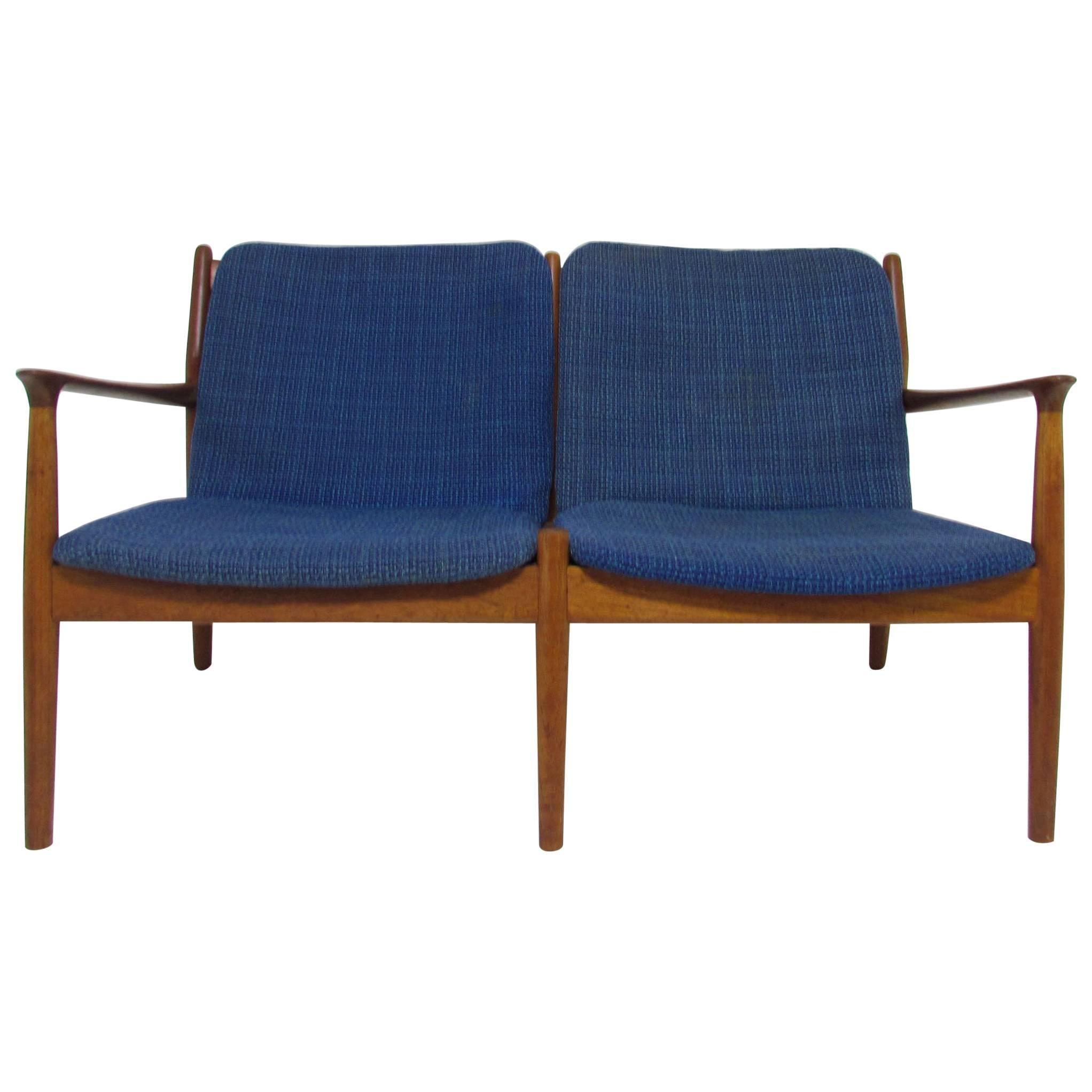 arne vodder danish teak love seat sofa circa 1960s