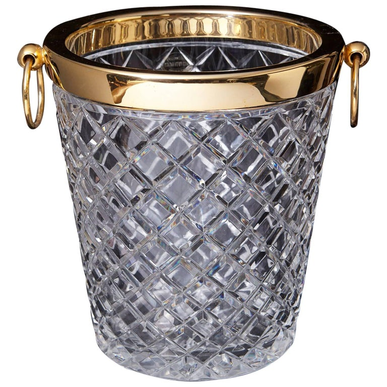 Belgian Crystal and Brass Ice Bucket, Saks Fifth Avenue's Guest and Gift, 1950s 1