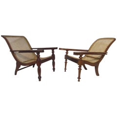 Antique Paddle Arm British Colonial Plantation Lounge Chairs