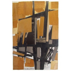 Midcentury Abstract Mixed-Media Collage Painting Signed McDowell, 1966