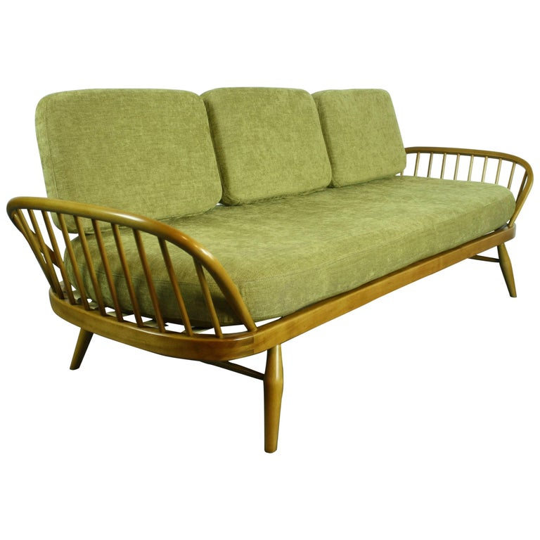 Vintage Ercol 355 Studio Couch Sofa Bed In Beech With Green Upholstery For Sale At 1stdibs
