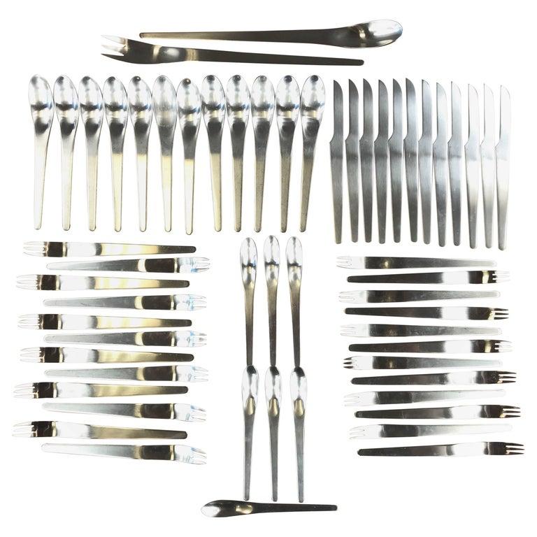 Arne jacobsen for georg jensen aj flatware service for twelve for sale at 1stdibs - Arne jacobsen flatware ...