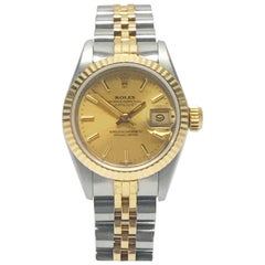 Rolex Stainless Steel and Yellow Gold Two-Tone Ladies Datejust Wristwatch