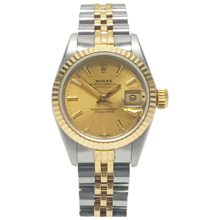Rolex Stainless Steel and Yellow Gold Two-Tone Ladies Datejust Wristwatch For Sale