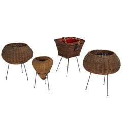 Set of Four Wicker Baskets, Italy, 1950s