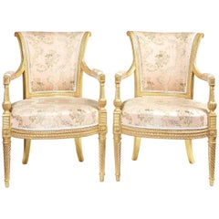 Pair George III Carved Giltwood Open Arm chairs Attributed to B Harmer