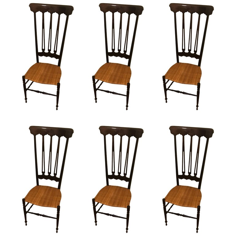Set of Six Elegant High Back Chiavari Chairs
