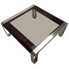 Italian, 1970s Sculptural Coffee or Side Table Nickel-Plated Steel, Wood & Glass