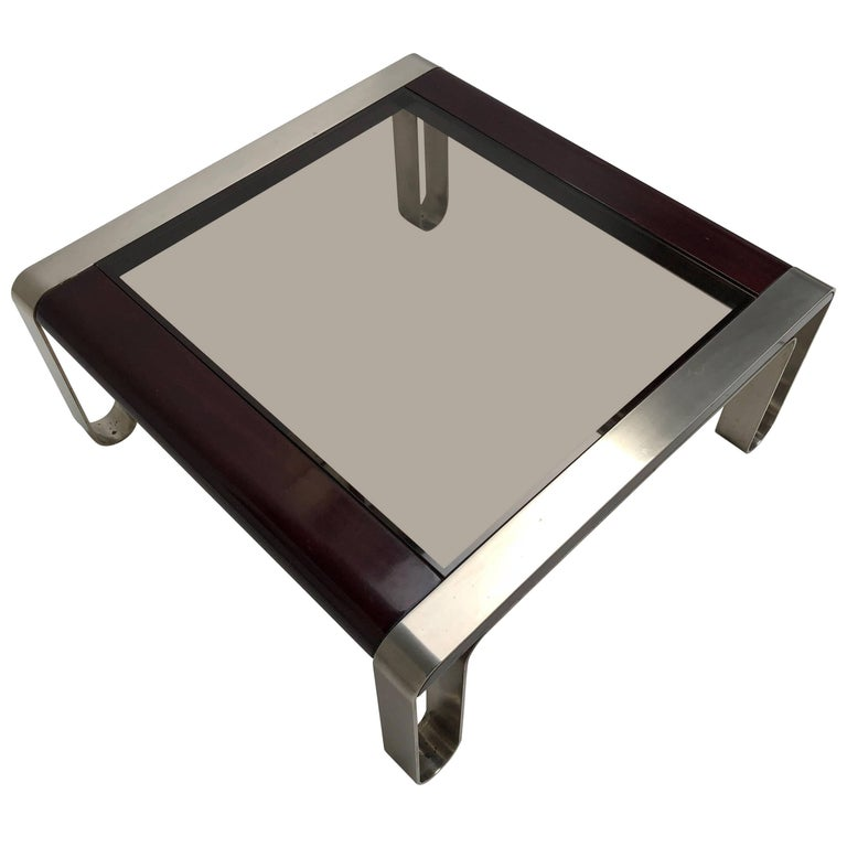 Italian, 1970s Sculptural Coffee or Side Table Nickel-Plated Steel, Wood & Glass For Sale