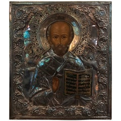 Icon of Nikolae Cudotvorec Silver by E. Fedorowitsch St Petersburg