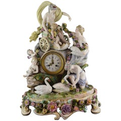 Porcelain Mantel Clock, Meissen, Germany, 18th Century