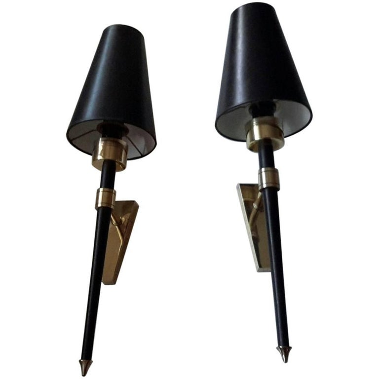Gorgeous and Big Size Pair of Mid-Century Modern Sconces by Lunel, France, 1950s