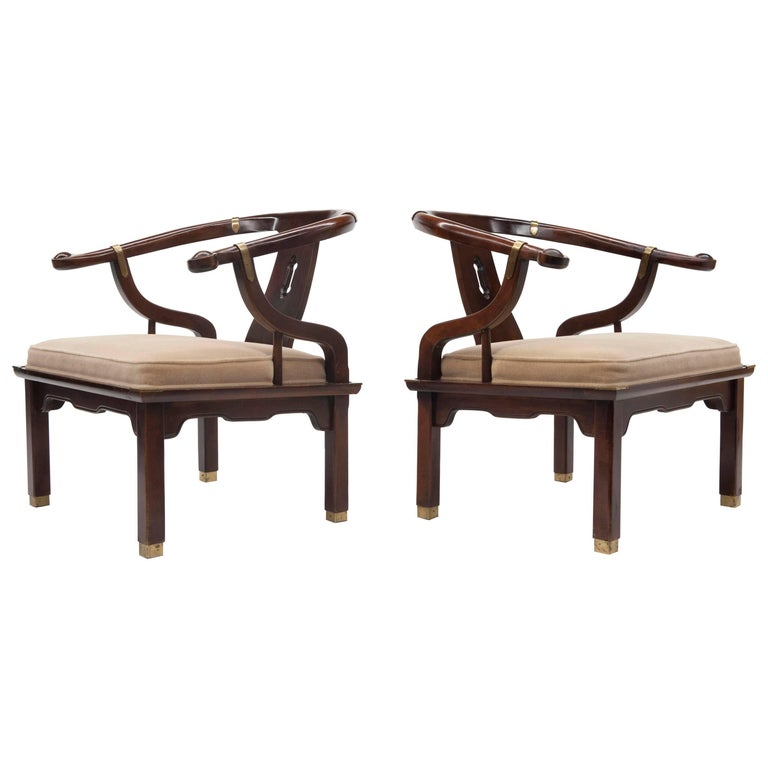 Pair Of Mid Century Asian Style Ming Lounge Chairs By Furniture For