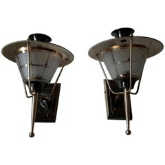 Brass Mid-Century Modern Sconces by Lunel, France 1950s