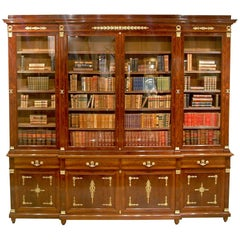 19th Century French Mahogany and Ormolu Bookcase in the Empire Style