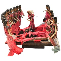 Tribal Wood Carved Dancing Doll Set Tharu Southern Nepal, Mid-Late 20th Century