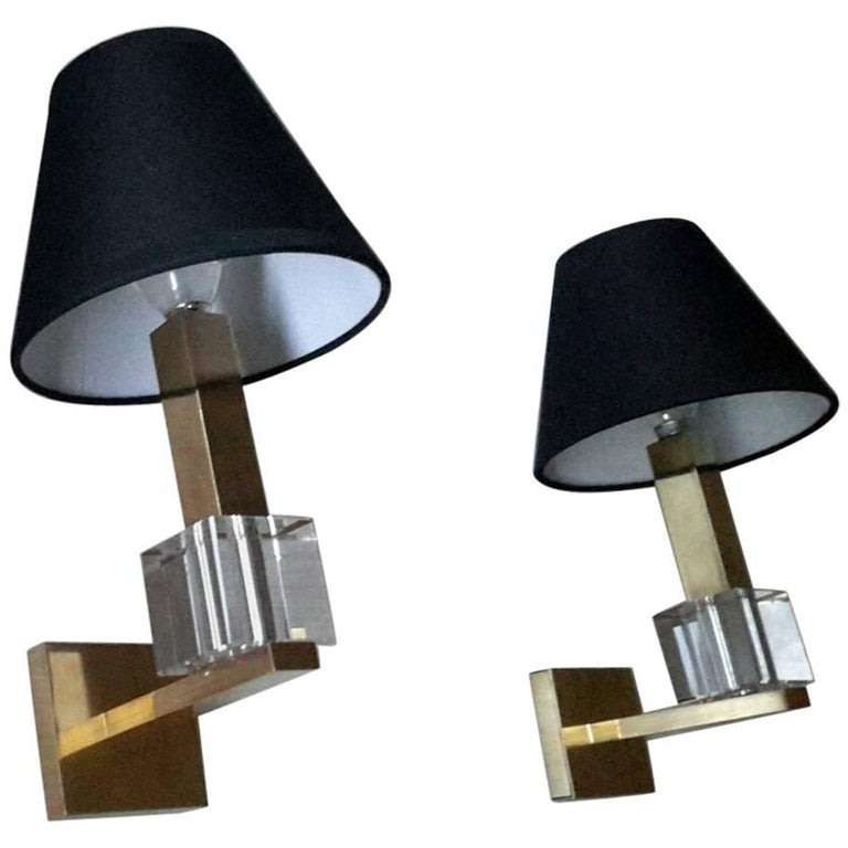 Gorgeus Jacques Adnet French Mid-Century Modern Sconces, France, 1940s