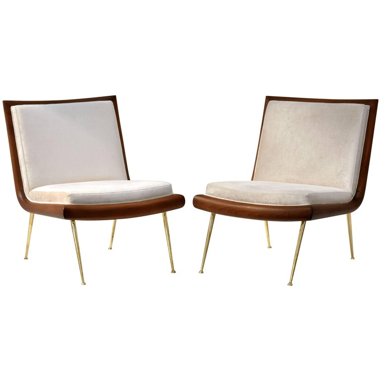 T.H. Robsjohn-Gibbings, Cocktail Chairs, Walnut, Beige Velvet, Brass, 1950s For Sale