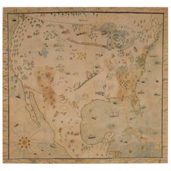 Crayon or Pastel on Muslin Naive Map of America