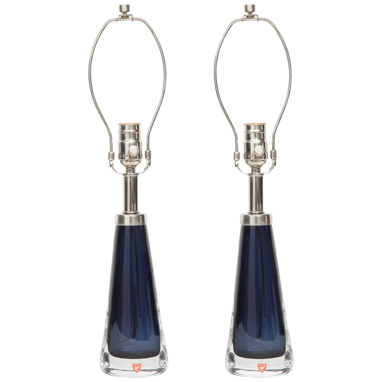 Orrefors Dark Shire Blue Lamps
