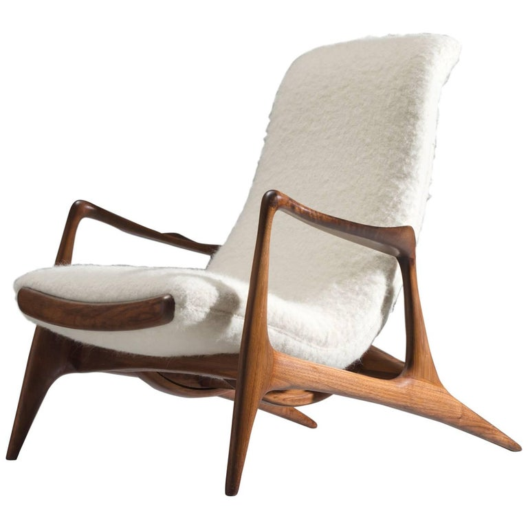 Vladimir kagan walnut contour chair reupholstered in wool for Reupholstered furniture for sale