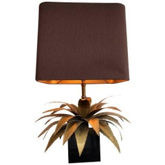Maison Jansen Brass Palm Tree Table Lamp