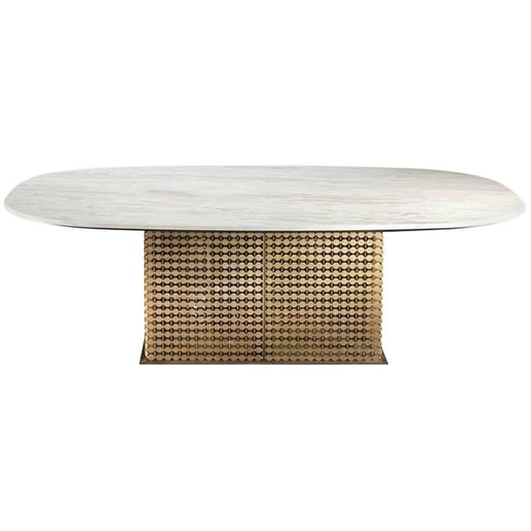 Penny Dining Table with Marble Stone Top and Brass Base