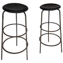 Pair of 1950s Swiss Industrial Confection Atelier Working or Bar Stools