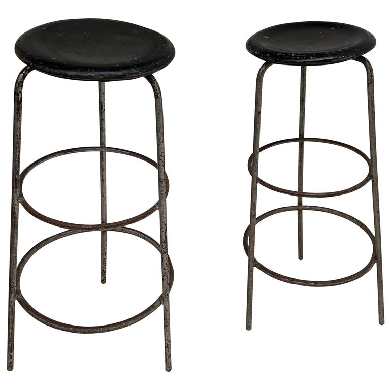 Pair of 1950s Swiss Industrial Confection Atelier Working or Bar Stools 1