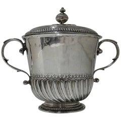 Antique William III Britannia Silver Porringer and Cover Robert Cooper, 1699