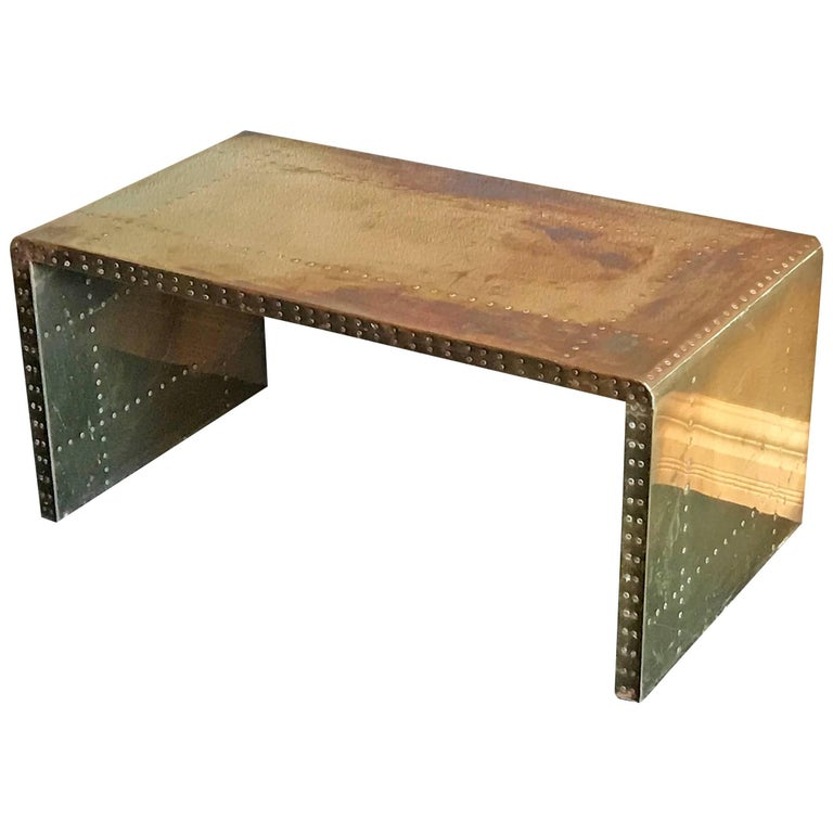 Sarreid ltd brass clad coffee table for sale at 1stdibs for Coffee tables 30cm wide