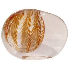 Rare Antonio da Ros for Cenedese Sasso Vase with Leaf Decoration