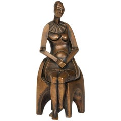 Malcolm Woodward Girl on a Chair Patinated Bronze, 1988