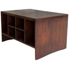 Pierre Jeanneret Office Desk for Chandigarh, Wood and Leather, circa 1950, India