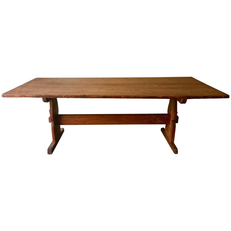 Large Early 19th Century Swedish Trestle Table