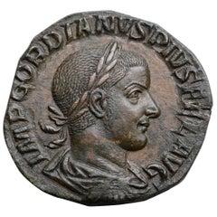 Ancient Roman Sestertius Coin of Emperor Gordian III, 241 AD