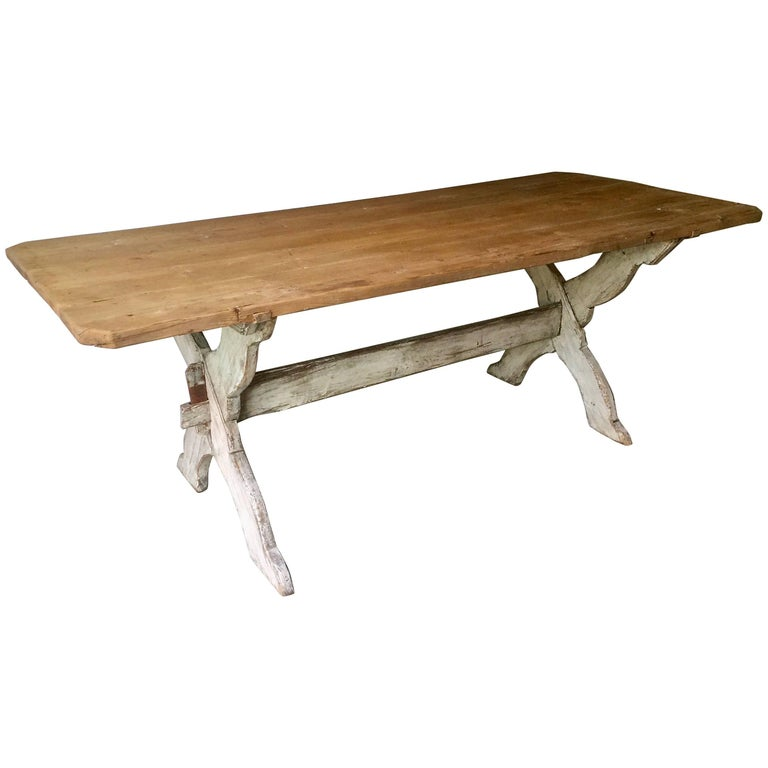 19th Century Swedish Trestle Table For Sale