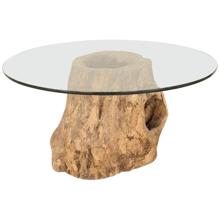 Rustic Adirondack Style Large Tree Trunk Base Dining Table For Sale