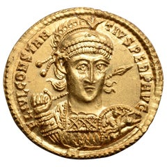 Superb Ancient Roman Gold Solidus Coin of Emperor Constantius II, 355 AD