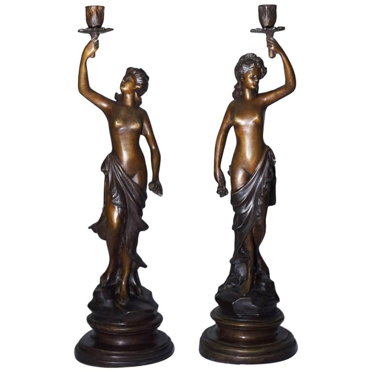 19th Century Pair of French Bronze Sculpture Torchères Candleholders Signed 1