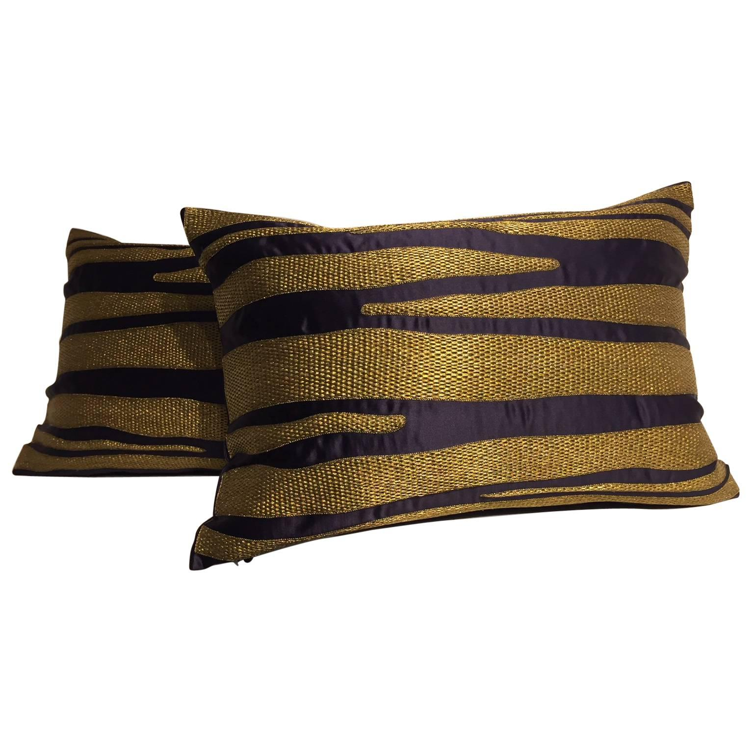 Cushions With Contemporary Hand Embroidery Gold Thread on Dark Blue Silk Satin